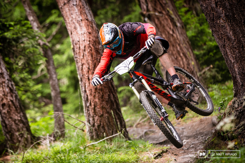 Thomas Lapeyrie was slightly off his usual pace this weekend, but he was still throwing some wild shapes through the woods.