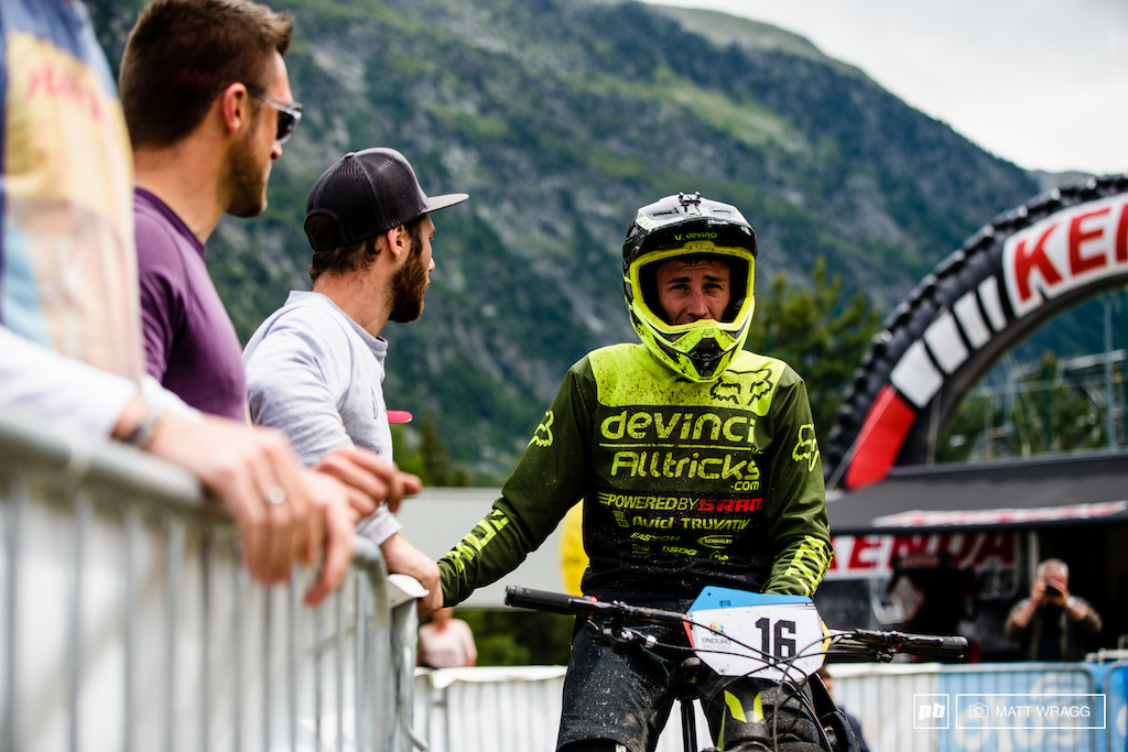 It would have been interesting to have a heart rate monitor on Damien Oton as he waited for the riders after him to come down and posted their times. It must have been agony sitting there waiting to see if he best was enough...