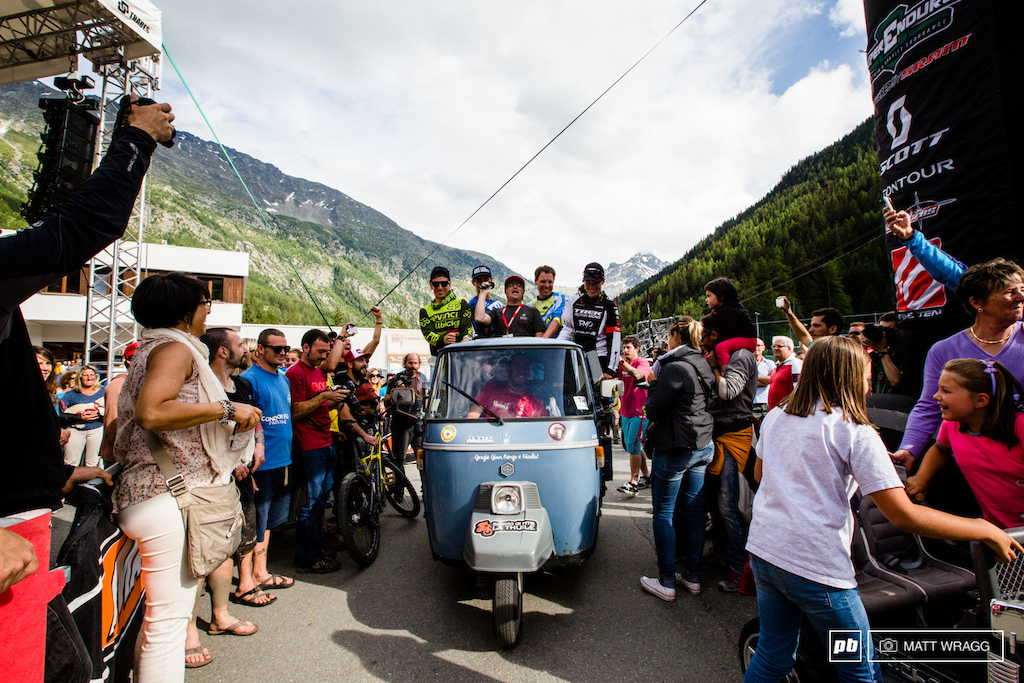 The winners were paraded through the streets on the specially painted EWS Ap . Only in Italy.