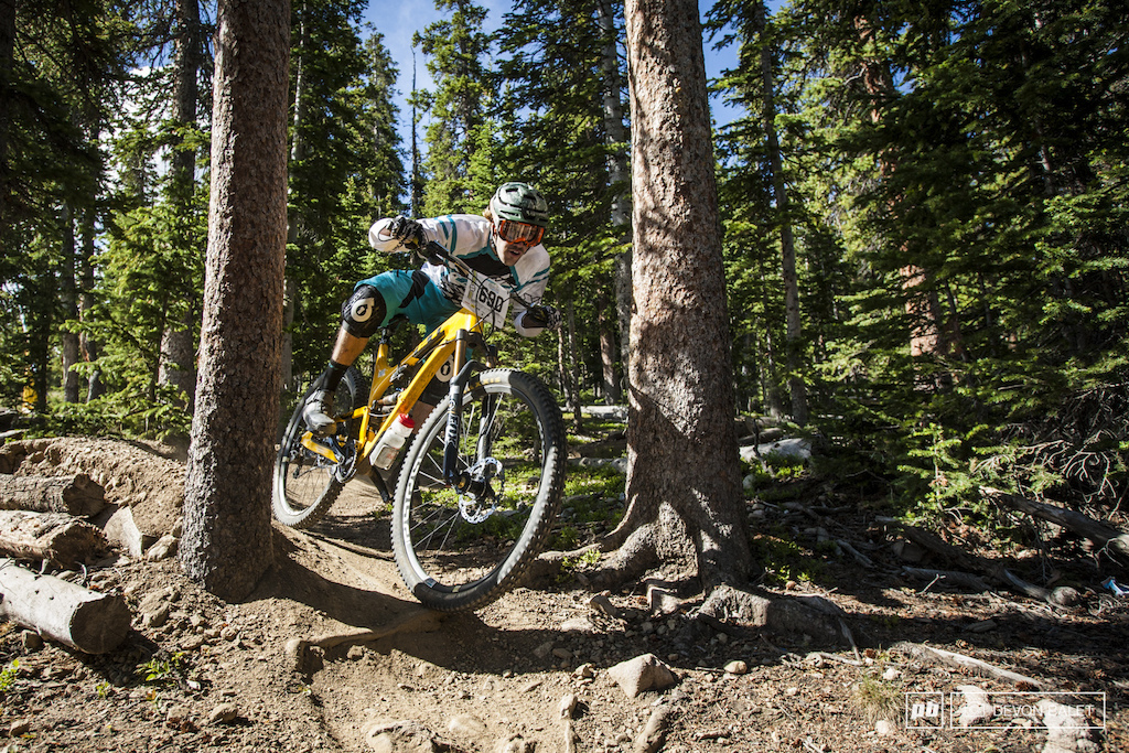Yeti ambassador Jason Memmelaar gets loose through the tight turns on Cowboy Up of stage four.