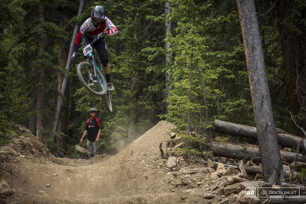 Keystone Resort park employee and local shredder Austin Hackett-Klaube blasted into the moto whoops on Mosquito Coast tripling the start where more people pumped or doubled. So rad