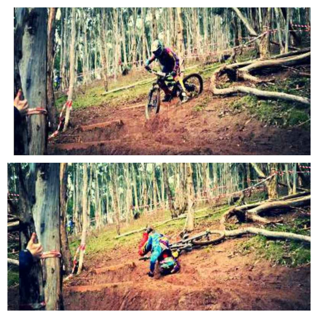Me crashing in my race run at pattos curse, thanks Damian Howard for the pics