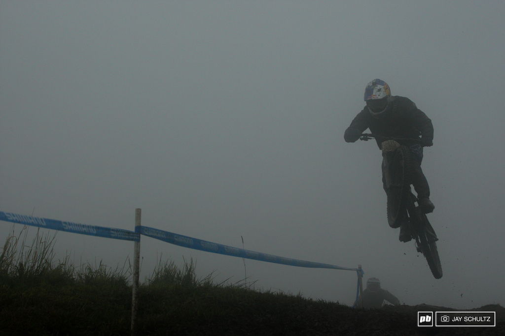 Practice but No Qual Run - Giant Factory rider Marcelo Gutierrez practiced in the slop in the morning pictured but didn t lay down a seeding run. Too much slop Or Not sure which. He seemed quick all morning. Five other Pro riders would do the same also DNS for seeding.