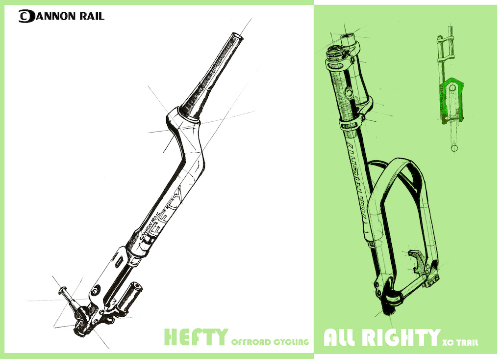 Straight from Suspi-con in San Diego. Upcoming forks from Cannon Rail. Hefty and All Righty