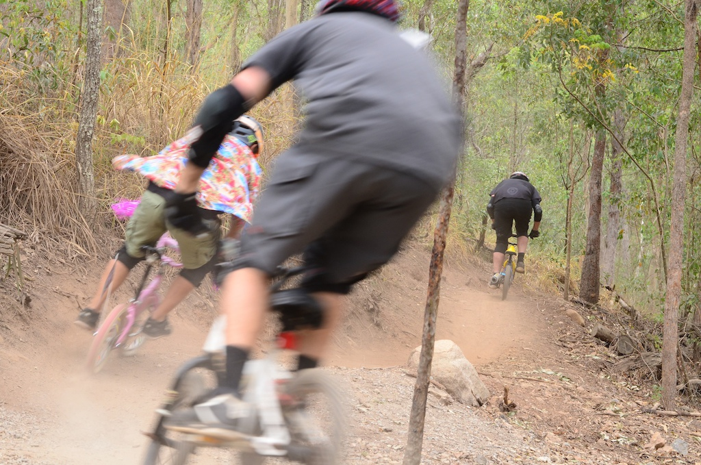"""Death Skull Dirt Riders Attacking a trail on 16"""" Kids bikes.  The rules were:  Maximum spend of $50 or run what you already had. No performance mods. Fancy dress got awarded extra points."""
