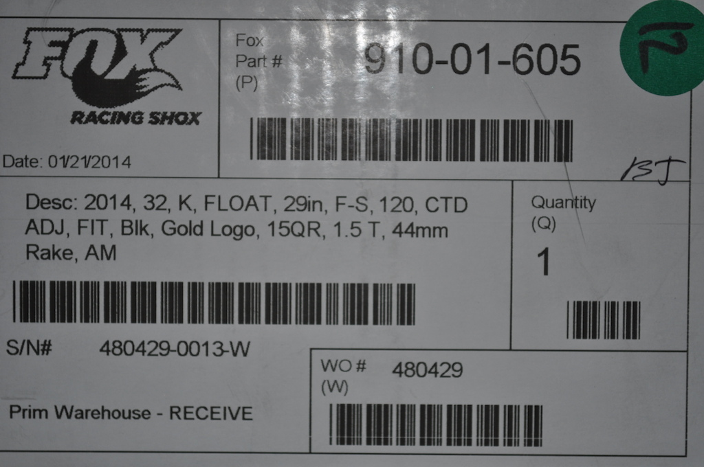 2014 Fox Float 29 CTD 120mm w/ 15mm axle
