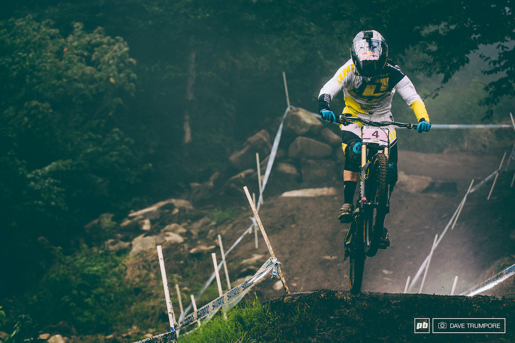 Rachel Atherton cuts through the fog during the early morning training session.