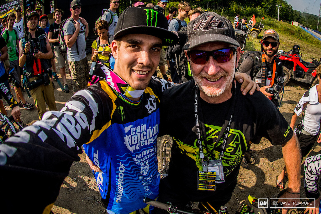 selfies are all the rage these days but how often do you see one of a World Cup winner and his proud father just moments after the race.