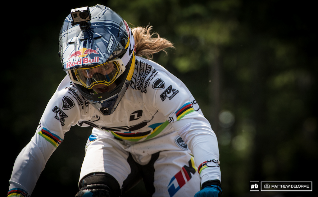 Rachel Atherton pushing hard into the finish line. Atherton is looking like she is getting back on form and might be taking the win soon.
