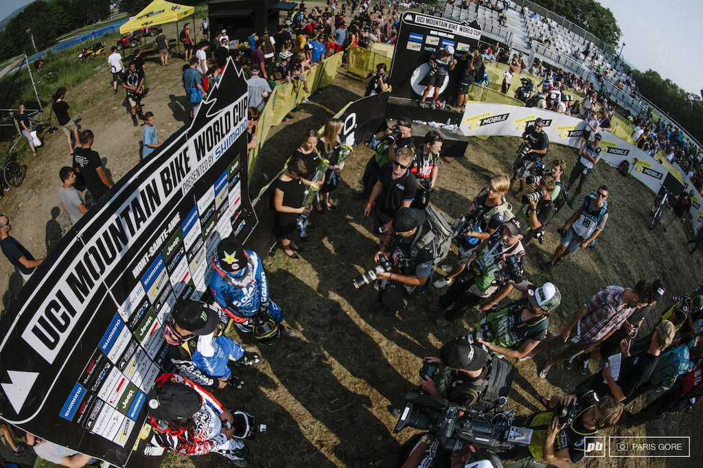 Up from above looking onto the media frenzy around the soon to be interent explosion of Sam Hill winning.
