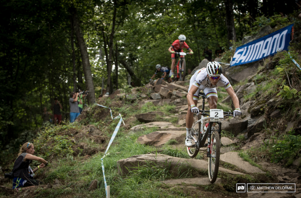 Nino Schurter got away early and established a sizable lead. He lead most of the race only to trade position with Absalon.