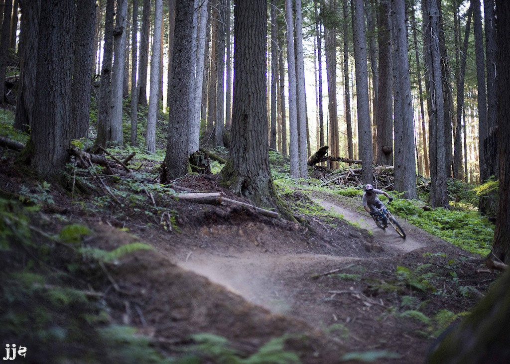 Riding some flowy berms at Boulder Mountain in Revelstoke, BC