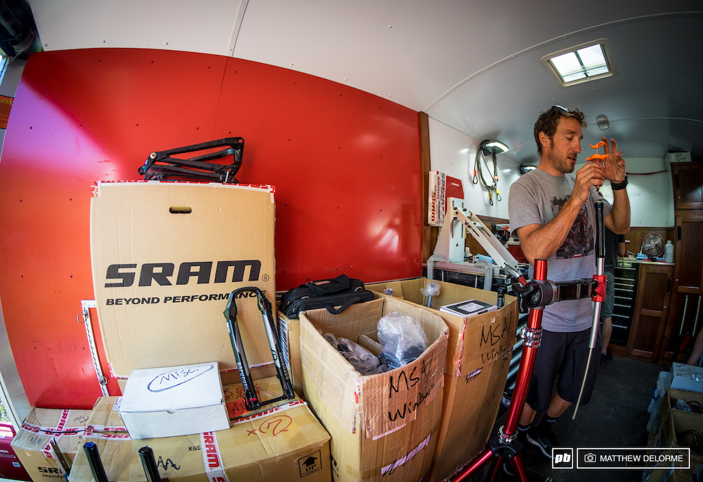 SRAM s Jon Cancellier making sure suspensions are dialed before the first day of practice.