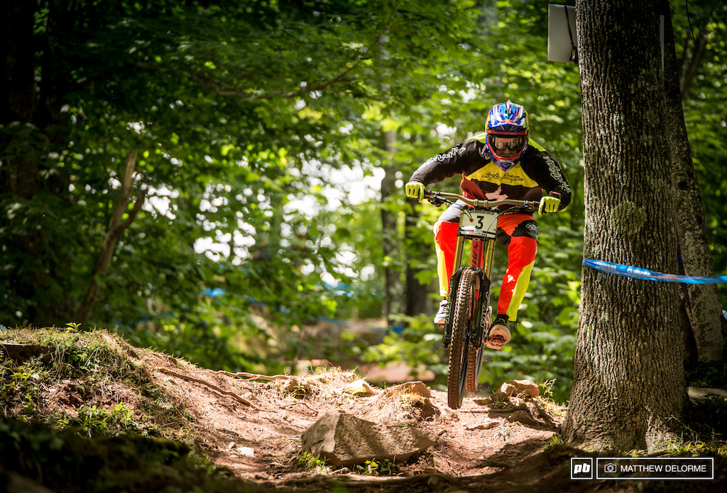 Aaron Gwin isn t showing his cards just yet but there are sections of this track that he is looking properly pinned on.