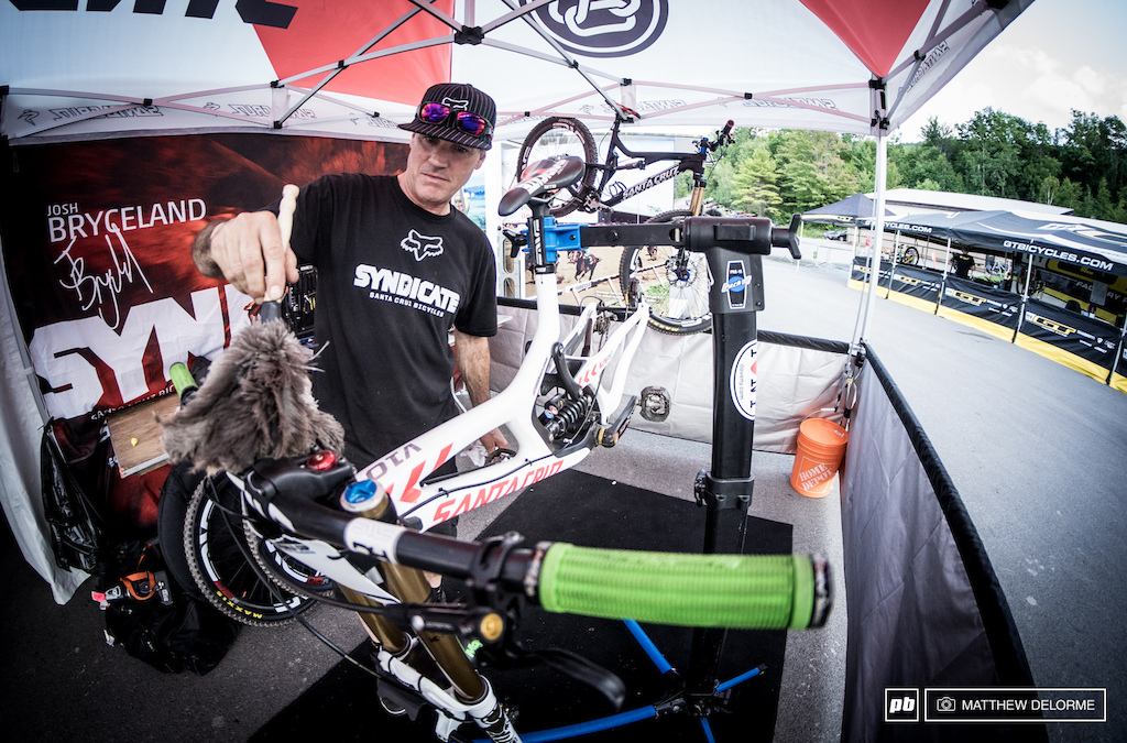 Douggie Fresh doesn t like to wash the bikes at dry and dusty races and instead he uses a feather duster. Keeps the grease in all the places it s supposed to be.
