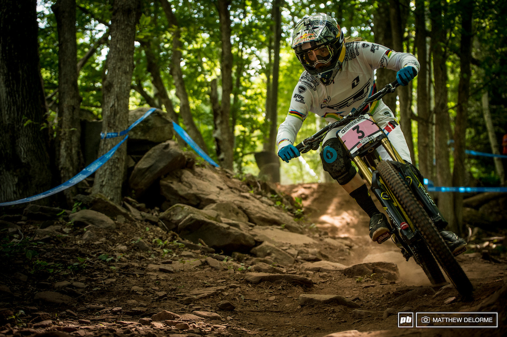 Rachel Atherton took the top spot in qualies today besting Ragot by 1 476 seconds. Rachel is looking back up to speed and could be poised for a win here in Windham.