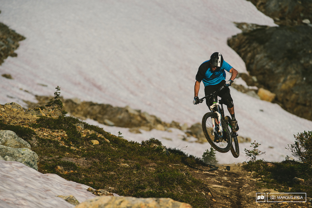 Wade Simmons happily hopping along the Top of the World trail.