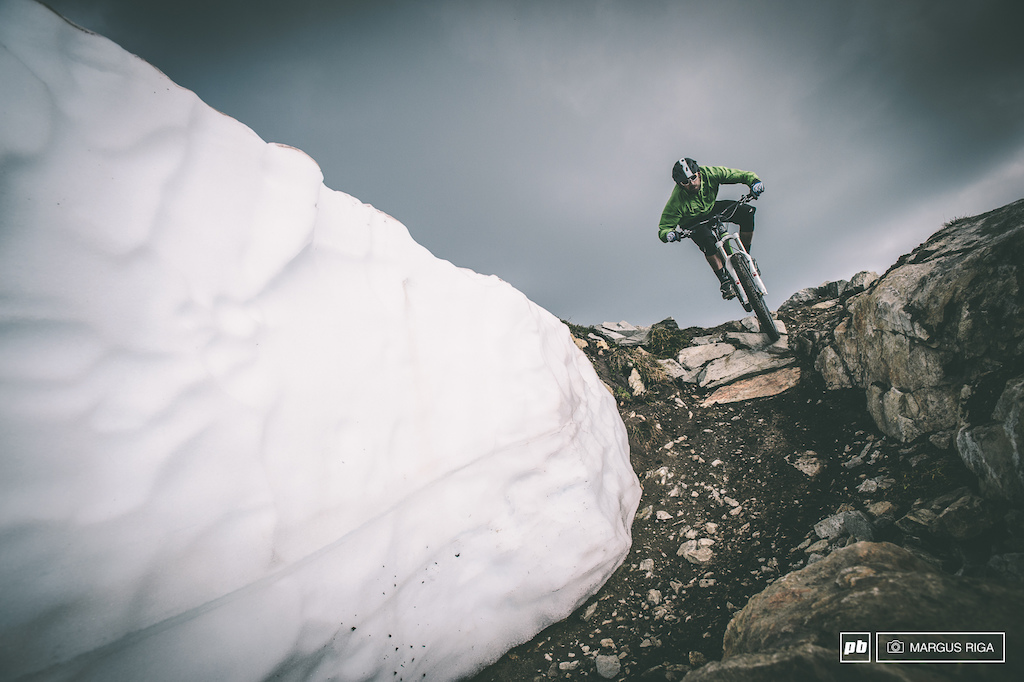 Wade Simmons dropping into the Top of the World trail.