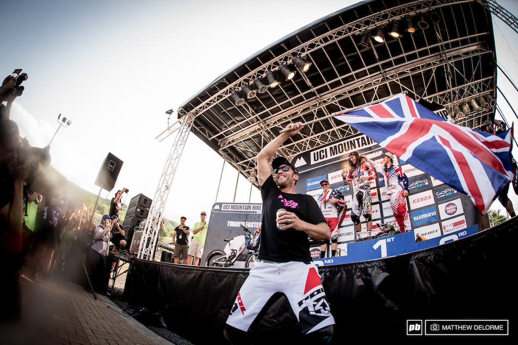 The second British invasion. Peaty waves the Union Jack in celebration of Ratty getting another win.