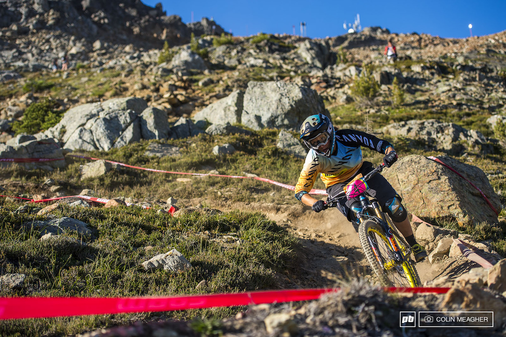 Ines Thoma cranking corners up on Top of the World.