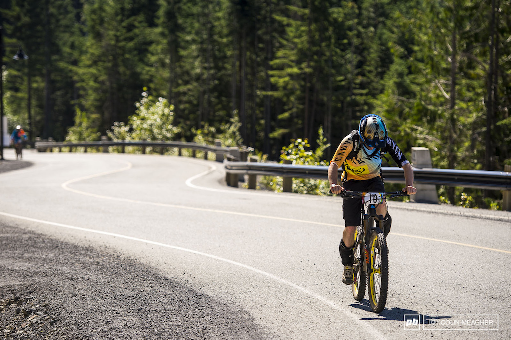 Joe Barnes blistering in the sun on the climb to stage 4. Sure a chunk of the climb was pavement...hot sticky asphalt without a speck of shade.