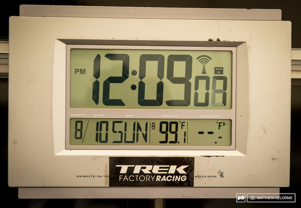 The day started off hot and humid with temperatures in the pits reaching near 100F 38C.