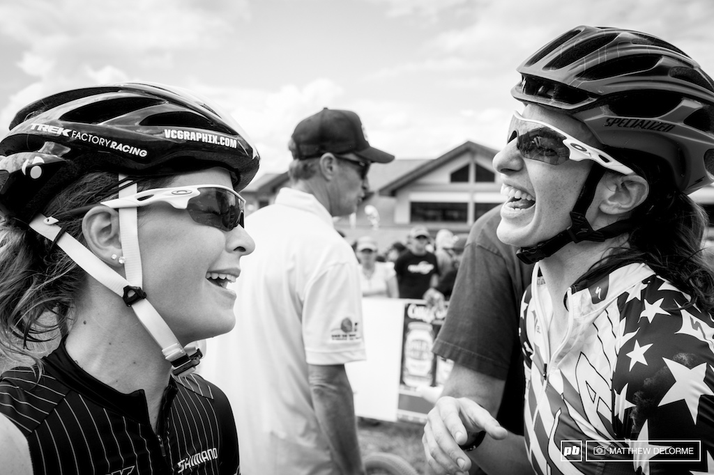 Lea Davidson and Emily Batty have a laugh after the race. Batty finished eighth and Davidson took seventh.