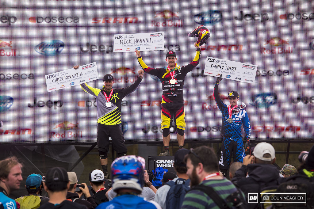 Men s Pro Air DH Podium Chris Kovarik 2 Mick Hannah 1 and Danny Hart 3 .