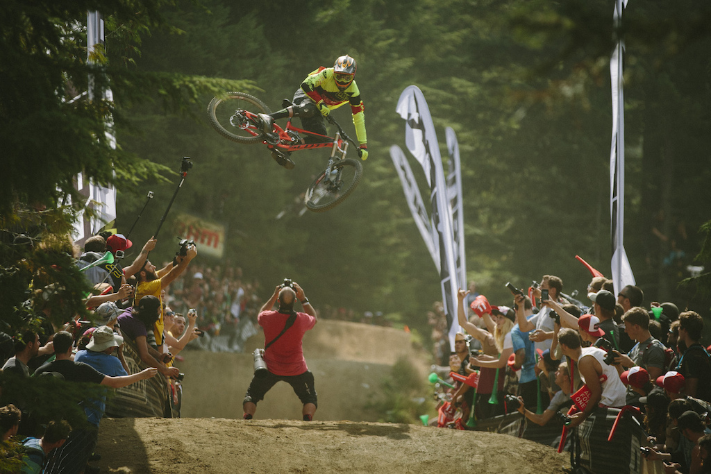Brendan Fairclough and Sven Martin at the Official Whip off Worlds, Crankworx 2014, Whistler, British Columbia, Canada