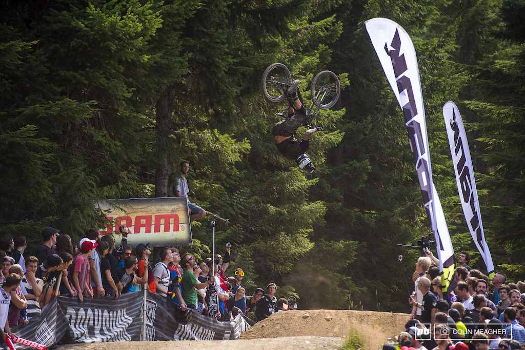 Geoff Gulevich breaking convention with a fat and slightly off axis back flip.