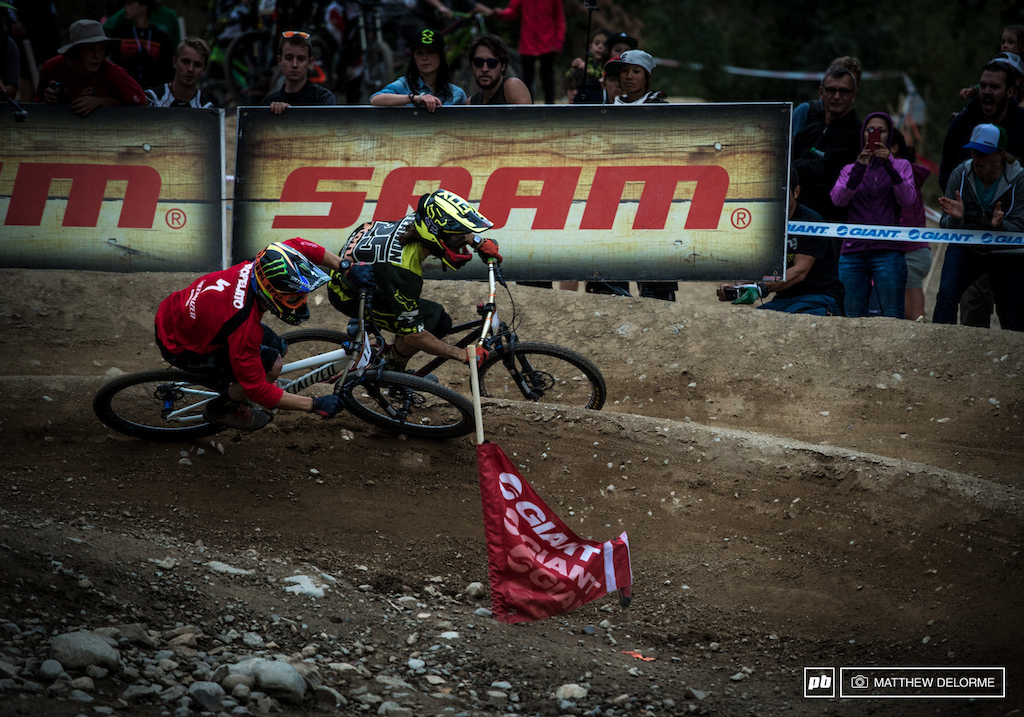 Mitch and Fearon neck and neck in the final berm.
