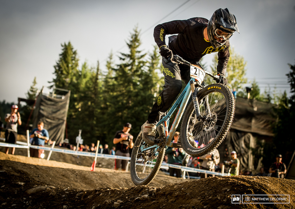 Bas Van Steenbergen muscling out of the toilet bowl onto the lower section of the track.