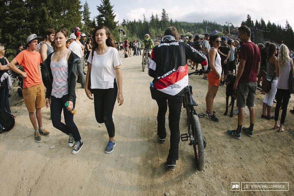 Brandon Semenuk choosing to walk to the top at 2014 Joyride at Crankworx, Whistler, BC