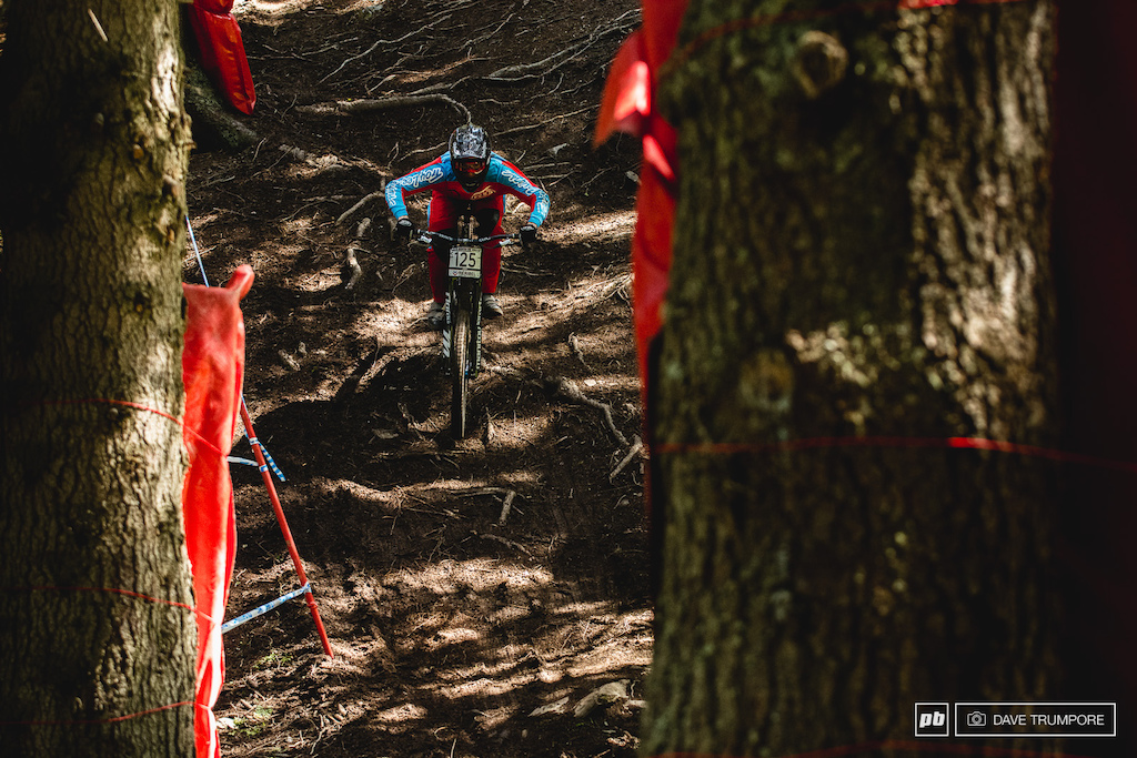 The biggest complaint riders had today was not being able to see where they were going in the woods. A mix of harsh sun spots and dark ground made spotting lines and slick roots extremely difficult at race speed.