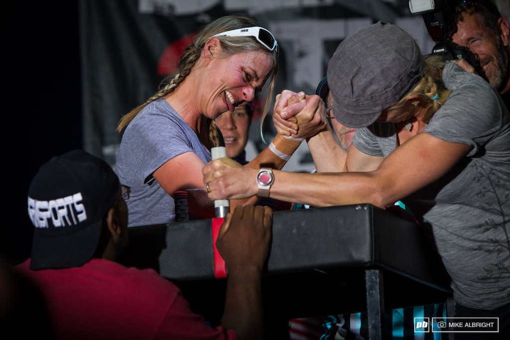 Lindsey Voreis left and Sue Butler right battle it out for the 500 arm wrestling prime