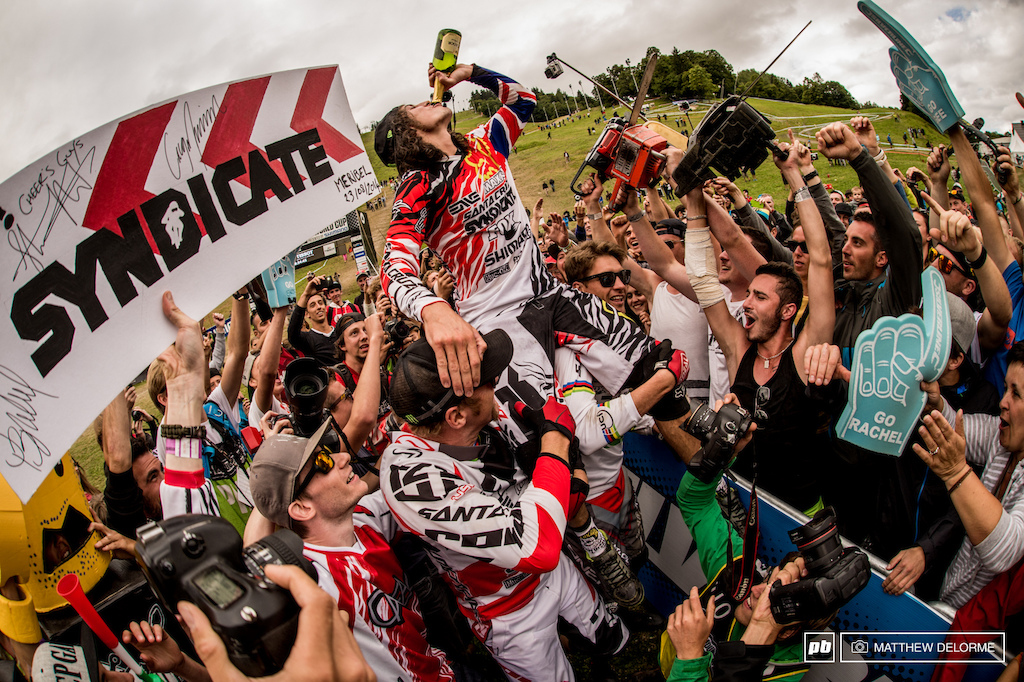 The celebration started early for Ratty as Peaty and Minnaar gave him a lift and carried him through what could only be described as a mini mosh pit of wild fans.