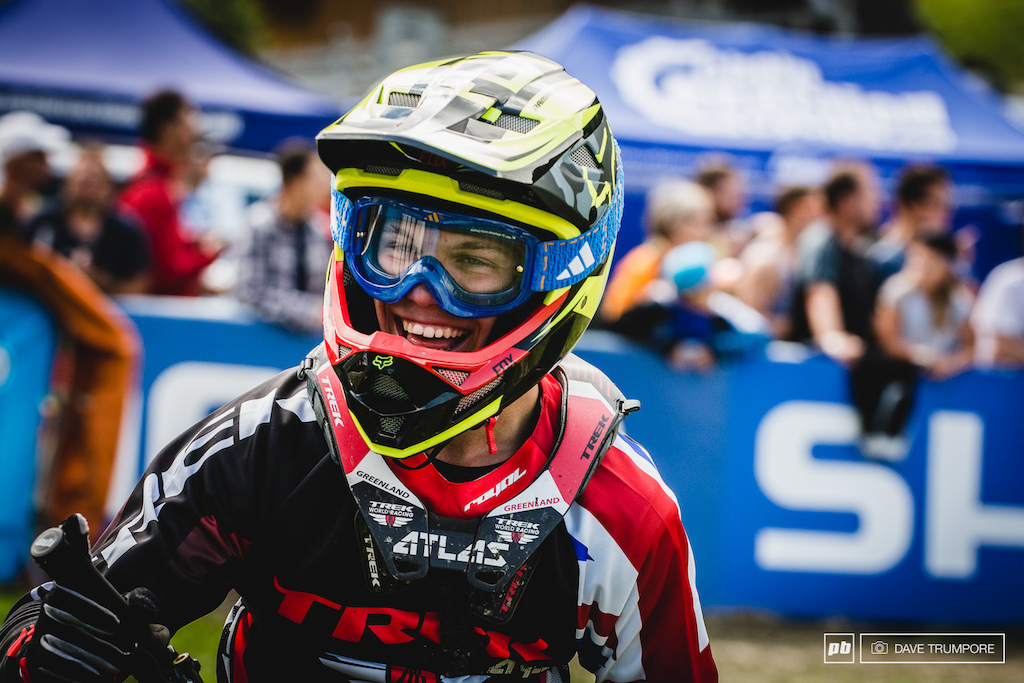 With another year left in the Jr class Laurie Greenland was ecstatic to end his season on the podium in Meribel.