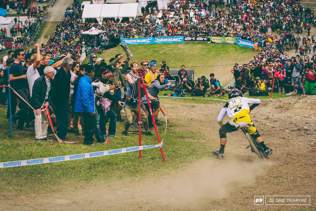 Marc Beaumont cuts the last corner in front of a massive crowd in Meribel.