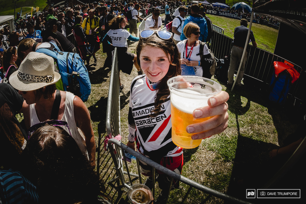 Cheers and beers with Manon Carpenter to celebrate her 2014 world Cup title.