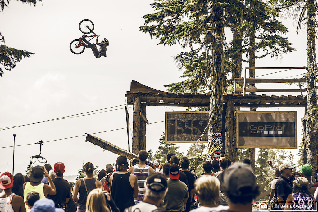 Backflip barspin from a drop like this? Yep, Brett got his superpowers activated.
