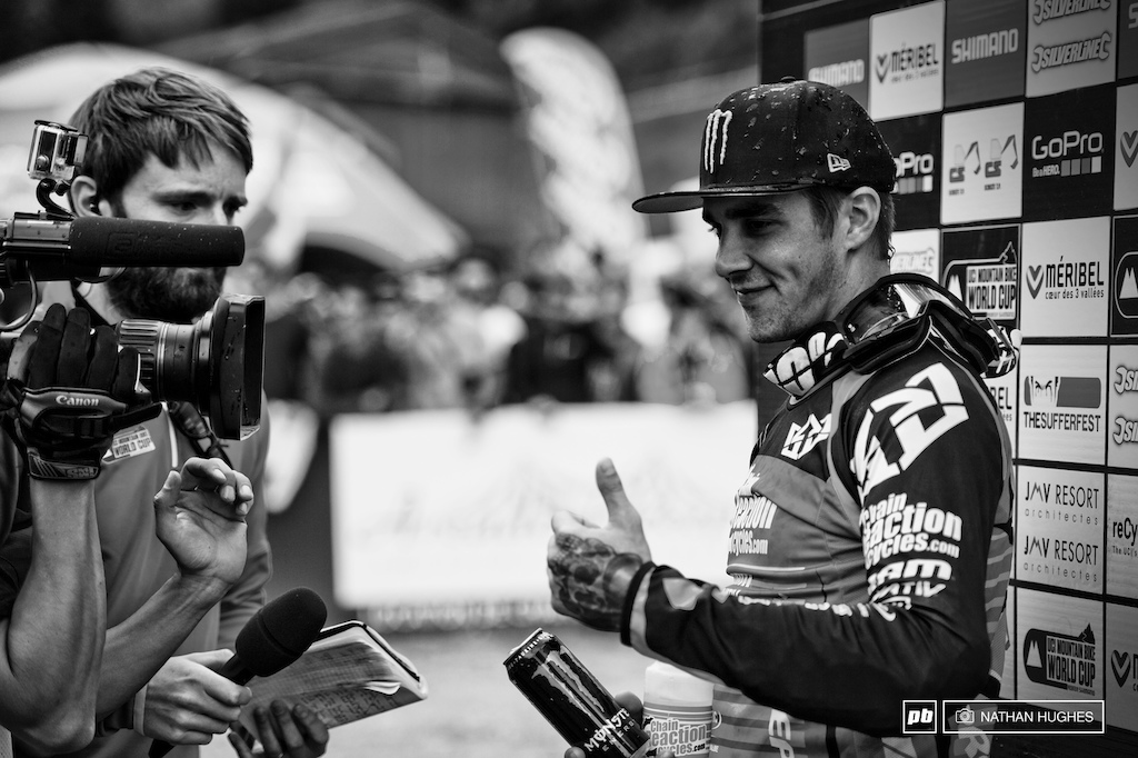 Cometh the hour cometh Sam Hill. He s back showing the World how to ride a bike best in steep natural terrain.