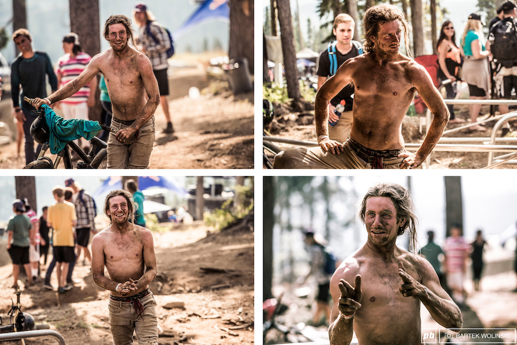 Justin shows nothing but smiles after his 360 lookback attempt. We hope he got a proper beer shower at the afterparty to get this dust off.
