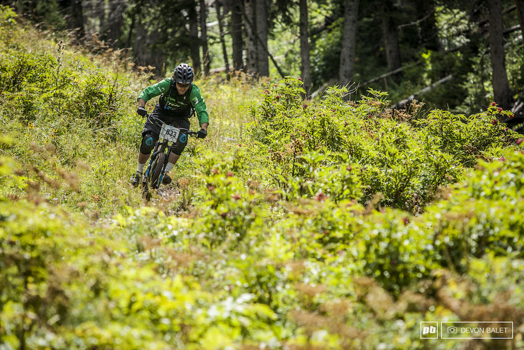 Andrew Dunlap finding the fast lines through the tall grass on Burro Pass. Dunlap finished the stage in a solid 8th place in the Am 18-39 category.