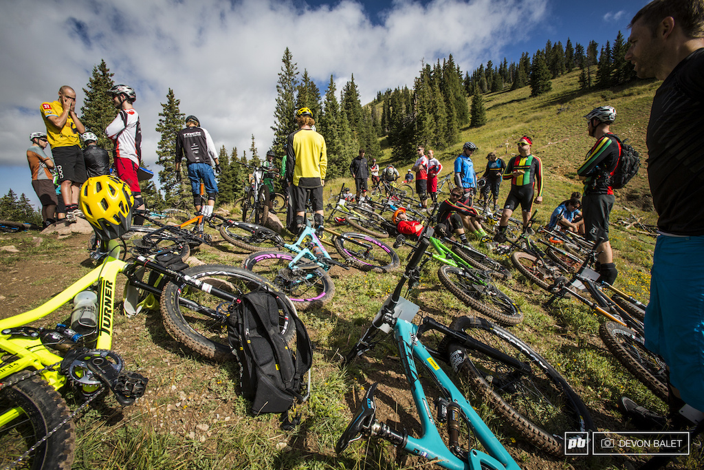 The top of Burro Pass looked like a skittle package explosion has the racers prepared to drop the first of two stages. Forest Service requested that the race be delayed by thirty minutes to try and help dry the trails after two days of heavy rain.