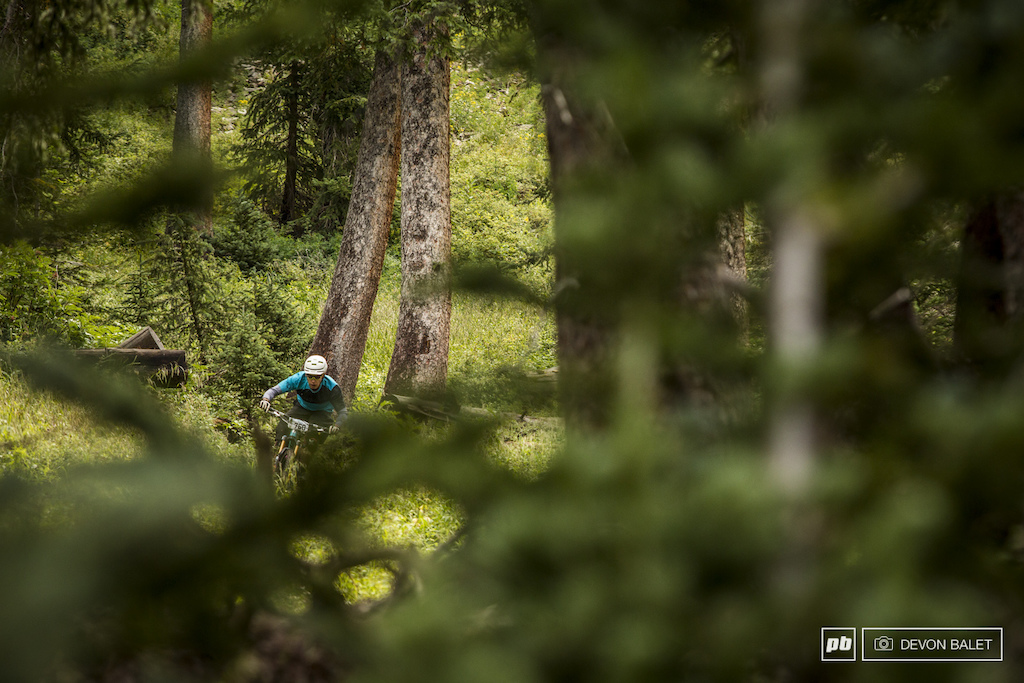 Moab local Kyle Mears finds the fast line through the tight trees on Burro Pass. Kyle finished 14th on the stage.