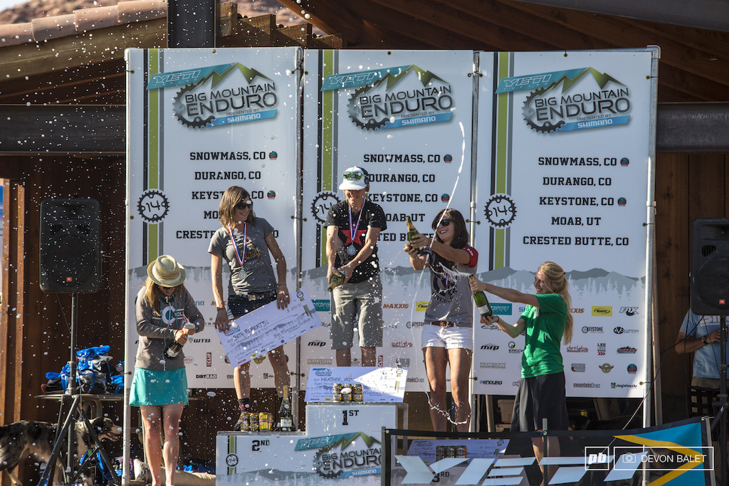 The ladies might need a lesson in podium champagne celebration.... 1st Heather Irmiger 2nd Beth Roberts 3rd Alexandra Pavon 4th Sarah Rawley 5th Ileana Anderson