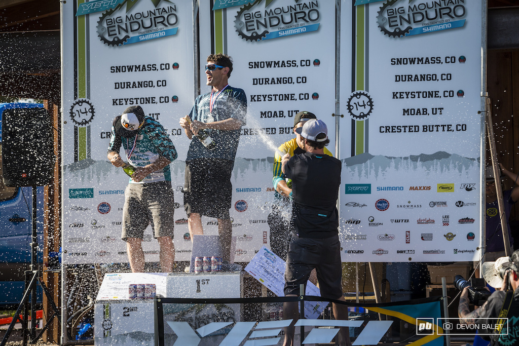 Nate Hills definitely won the podium champagne. 1st Ross Schnell 2nd Mike West 3rd Richie Rude 4th Marco Osborn 5th Nate Hills