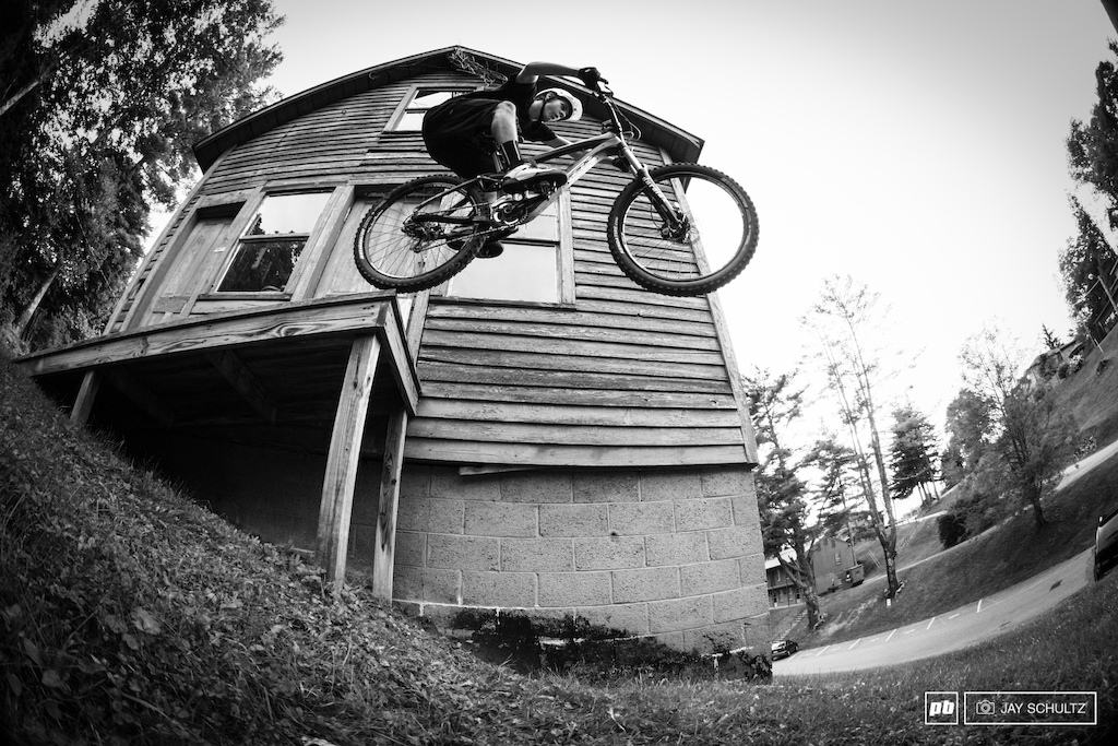 Urban on Campus - After our time on the XC trail system we scoured the campus looking for some urban fun. Before this shot Cody had never gone of the end only the side . nothing but butter.