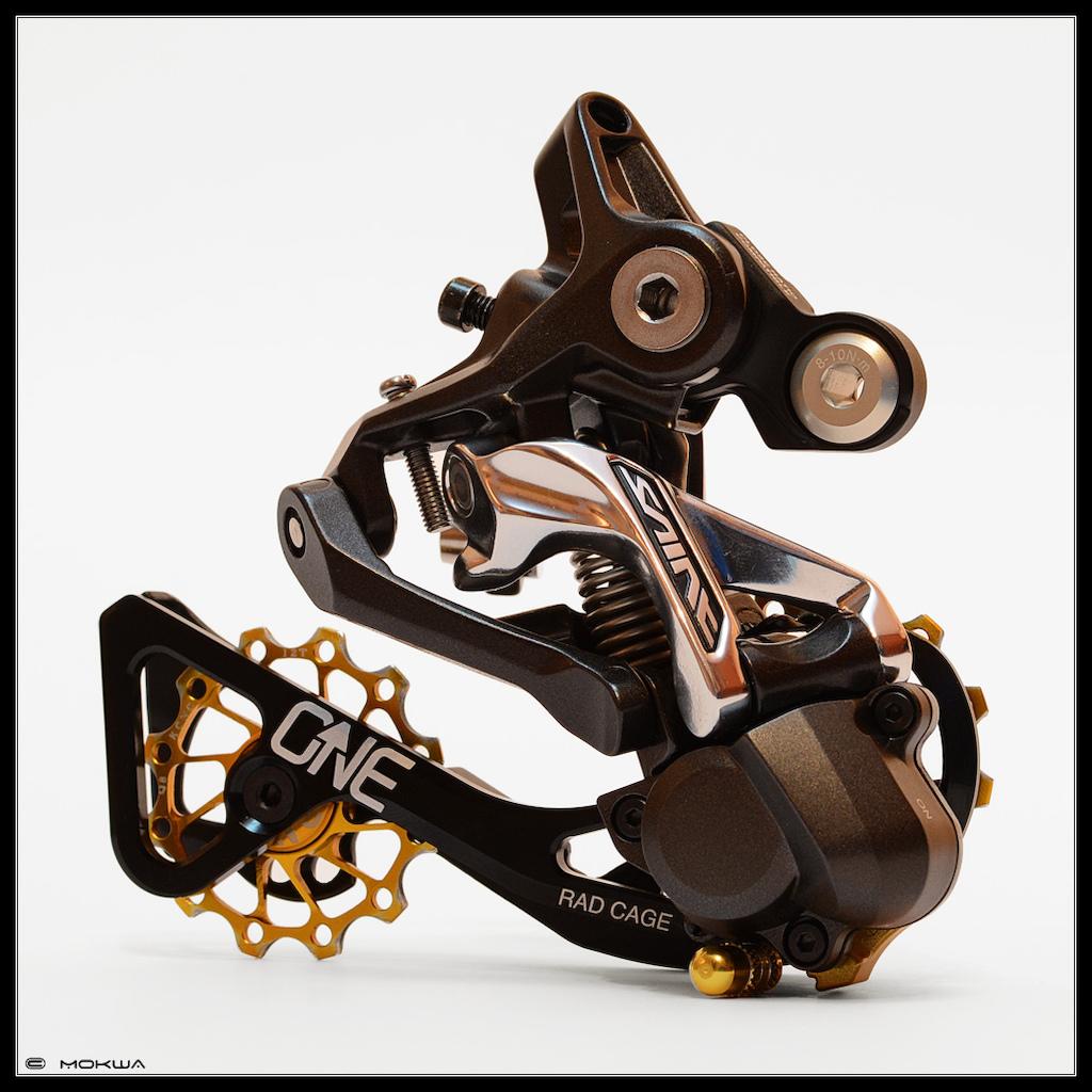 Shimano Saint RD-M820 + OneUp RAD Cage + Shimano Medium Inner Plate [Y5XC09100] + KCNC Jockey Wheels