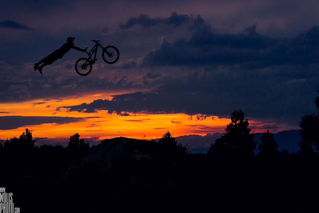 Double grabs in the natural terrain during a sunset like this Perfect.